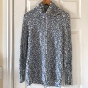 DAMAGED chaps blue marled mock neck top with tie